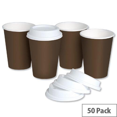 Single Wall Disposable Paper Cups 10oz/296ml with Plastic Lids (Pack of 50)