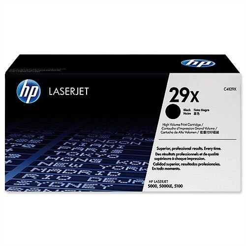 HP 29X Black High Yield LaserJet Toner Cartridge C4129X