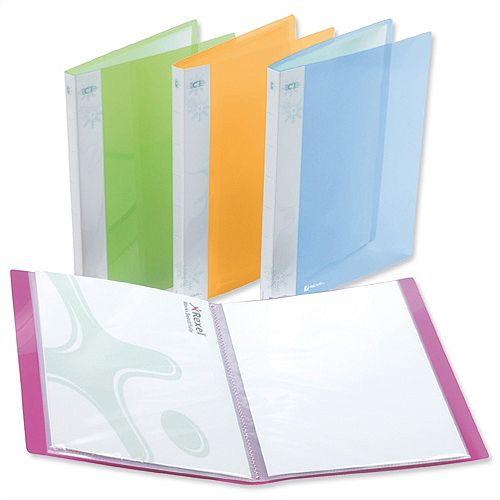 Rexel Ice 20 Pockets Display Book A4 Assorted Covers 2102038 Pack 10