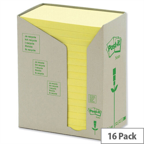 Post-it Note Recycled Tower Pack 76x127mm Pastel Yellow Pack 16