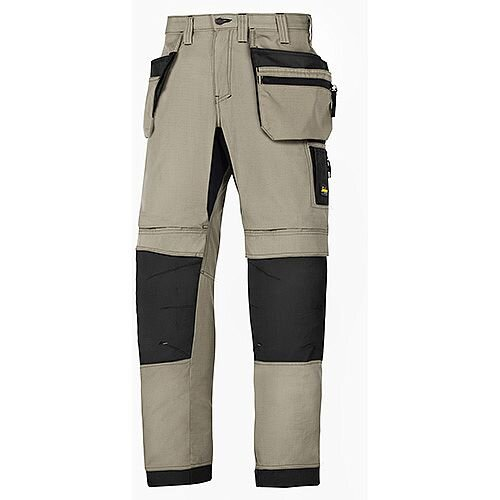 "Snickers 6206 LiteWork 37.5 Trousers Plus Holster Pockets Khaki - Black W36"" L35"" Size 152 WW1"