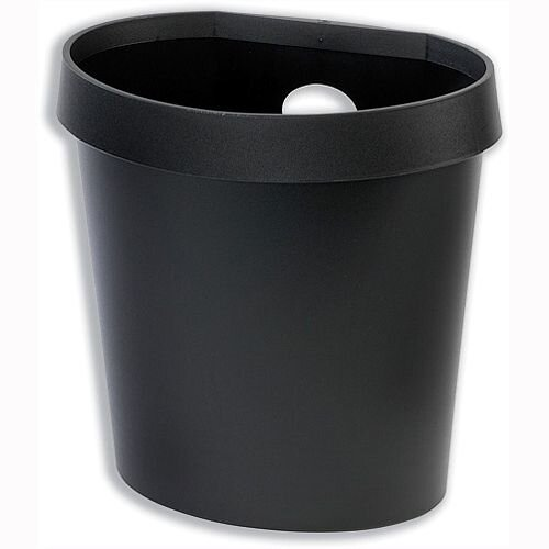 Avery DR500 Waste Bin with Rim Flat Back 18 Litres Black DR500BLK