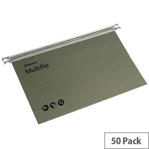 Rexel Multifile Foolscap Suspension File Green Pack 50