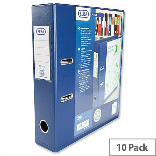 Elba Lever Arch File with Clear PVC Cover 70mm Spine A4 Blue Pack of 10
