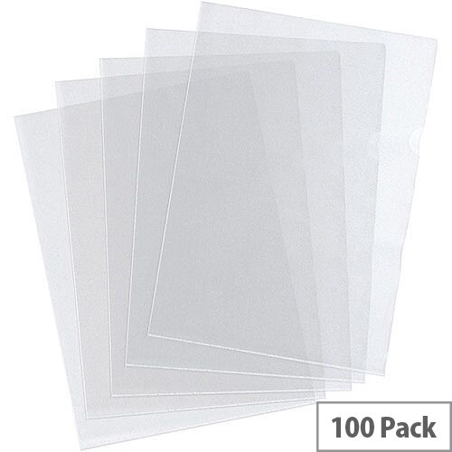 5 Star Value Folder Embossed Cut Flush Polypropylene 80 Micron A4 Clear Pack 100