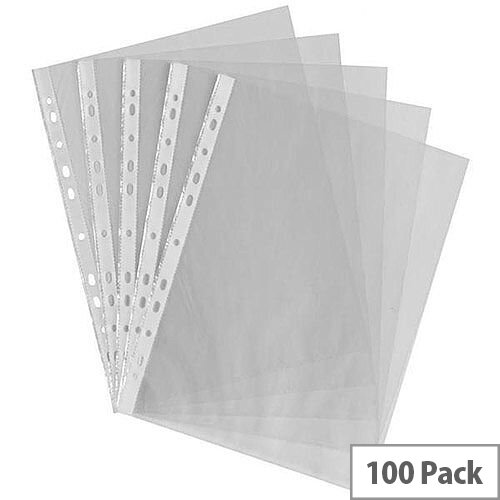 HuntOffice A4 Punched Pockets 35 Micron Clear Pack of 100
