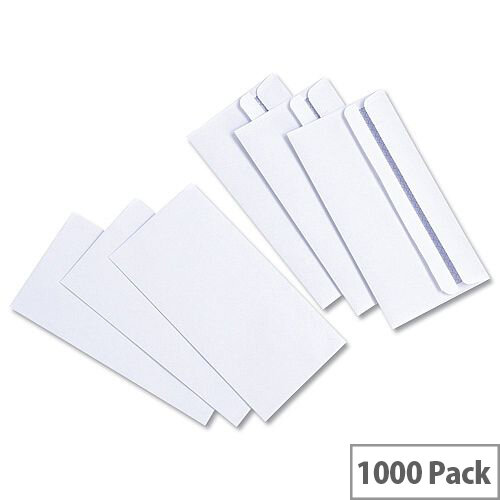 White Box White DL Envelopes Self Seal Wallet 80gsm Pack of 1000