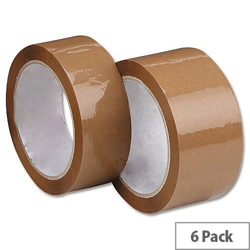 Whitebox Buff Packaging Tape 50mm X 66m Buff (Pack of 6)