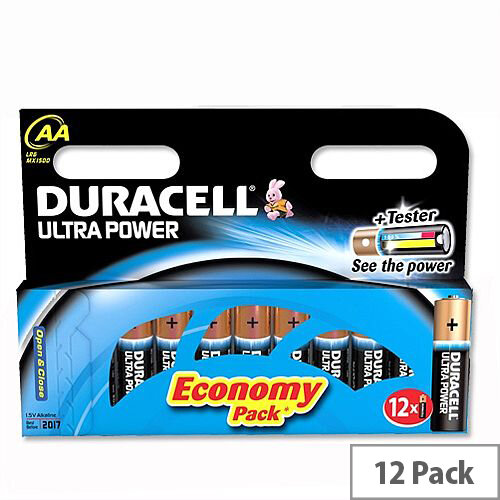 Duracell Ultra Power AA Alkaline 1.5V Batteries (12 Pack) Suitable For Cameras, Camcorders, MP3 Players, PDAs, Grooming and Toys