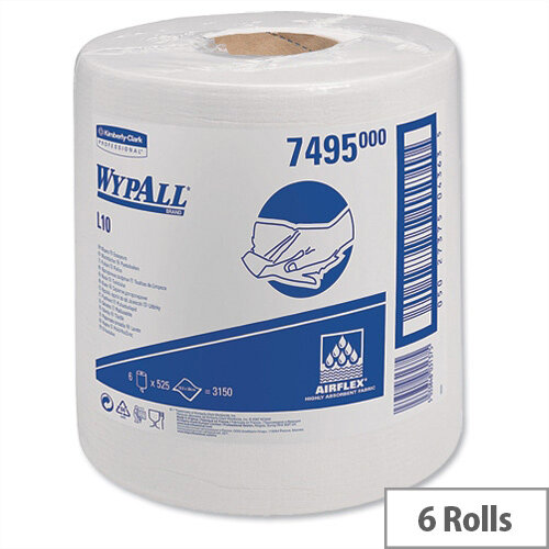 Kimberly-Clark Wypall L10 White Centrefeed Cleaning Roll Wipers Airflex 525 Sheets per 185x380 Pack 6 Ref 7495