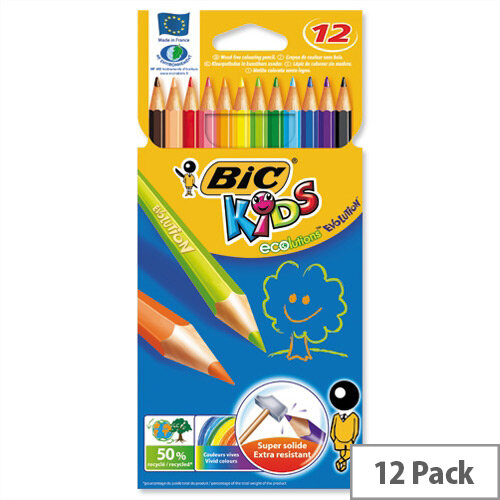 Bic Kids Ecolution Evolution Pencils Colour Assorted Wallet of 12