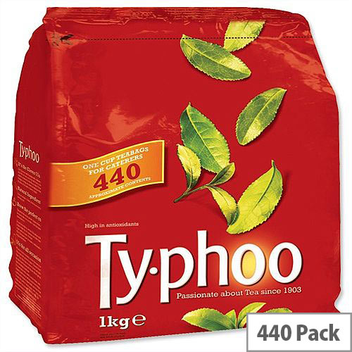 Typhoo Original Blend Tea Bags Vacuum Packed 1 Cup [Pack 440] 667802