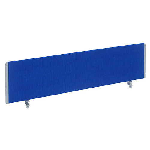 Straight Office Desk Privacy Screen W1600xD300mm Blue With Silver Trim
