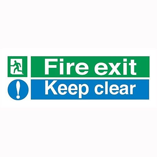 Stewart Superior Fire Exit Keep Clear Self Adhesive Vinyl Sign Standard