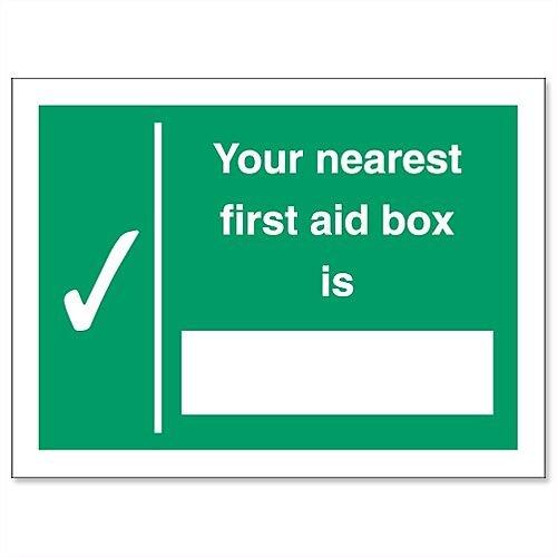 Nearest First-Aid Box Self Adhesive Vinyl Sign 200x150mm Stewart Superior