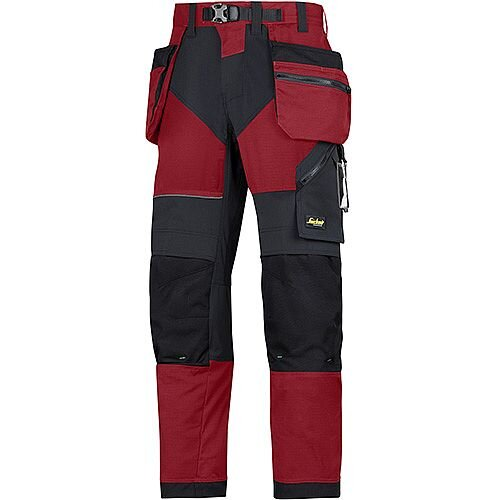 "Snickers 6902 FlexiWork Trousers With Holster Pockets Chill Red - Black W36"" L35"" Size 152 WW1"