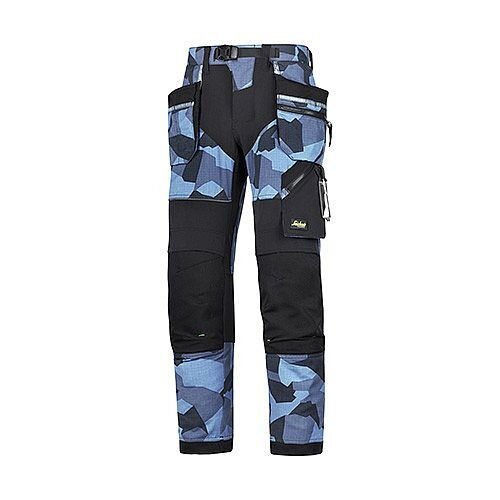 """Snickers 6902 FlexiWork Work Trousers Holster Pockets Blue/Black 28""""/28"""""""