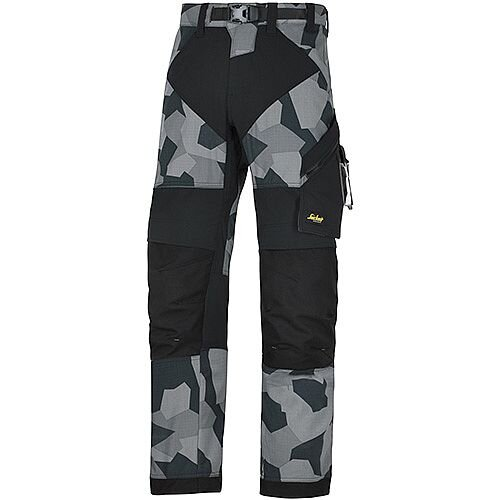 "Snickers 6903 FlexiWork Trousers Grey Camo - Black W36"" L35"" Size 152 WW1"
