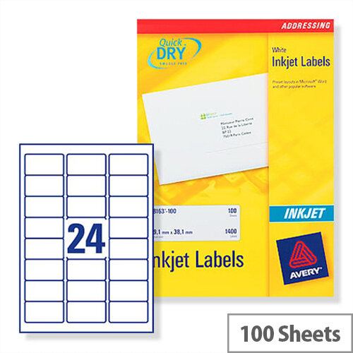 Avery Quickdry Inkjet Label 24 Per Sheet (Pack of 100)