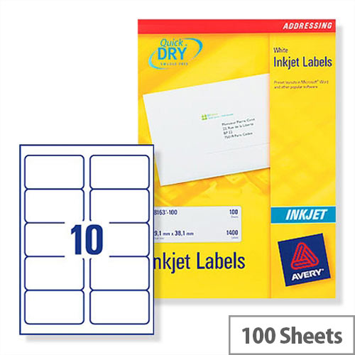 avery quickdry inkjet address labels 10 per sheet 99 1 x 57 0mm