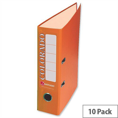 Rexel Colorado Orange Lever Arch File Foolscap Plastic Pack 10