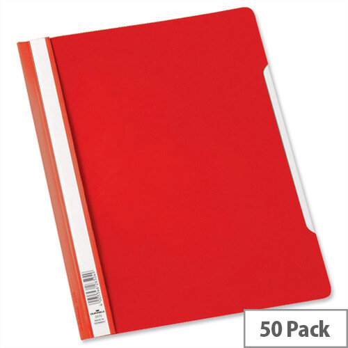 Durable Clear View Plastic Folder with Index Strip Extra Wide A4 Red Pack 50