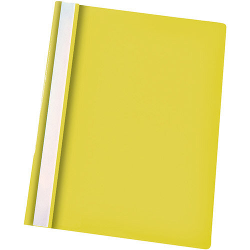 Esselte A4 Yellow Report Flat File Lightweight Plastic Clear Front Pack 25