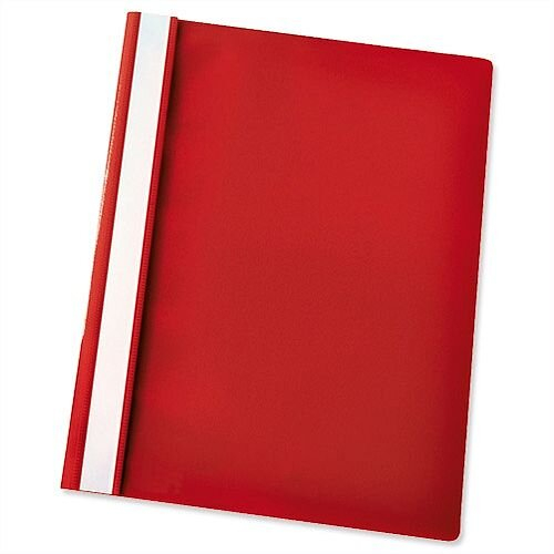 Esselte A4 Red Report Flat File Lightweight Plastic Clear Front Pack 25
