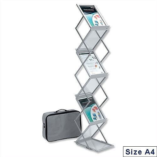Deflecto A4 Folding Display Stand with Carry Case Double Sided 6 Shelves