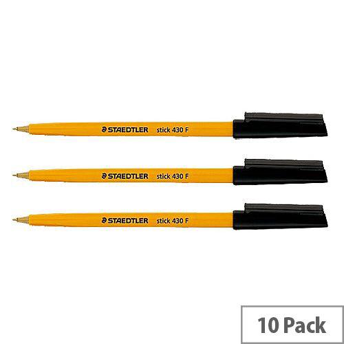Staedtler 430 Stick Ball Pen Fine 0.8mm Tip 0.3mm Line Black Ref 430F9 [Pack 10]