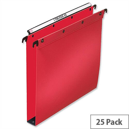 Elba Ultimate Vertical Suspension File Polypropylene 30mm Wide Base Foolscap Red L380232 Pack 25