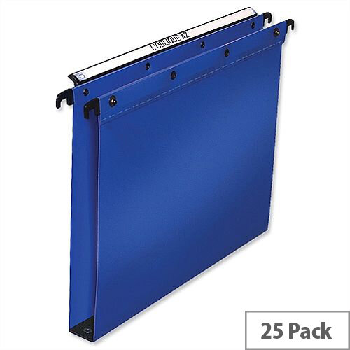 Elba Ultimate Vertical Suspension File Polypropylene 30mm Wide Base Foolscap Blue L380212 Pack 25