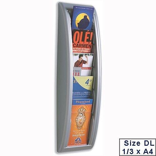 Quick Fit Literature Holder Wall Mount 5 DL Pockets 1/3xA4 Aluminium