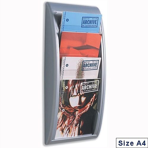Quick Fit Literature Holder Wall-mount 4 x A4 Pockets Aluminium