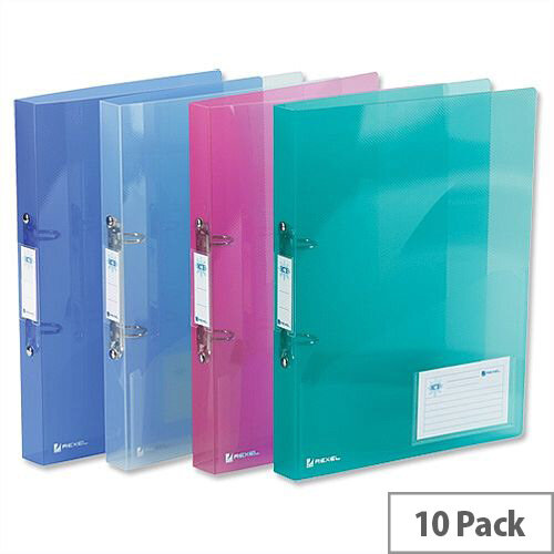 Rexel Ice A4 Assorted Ring Binder Plastic Standard 25mm Pack 10