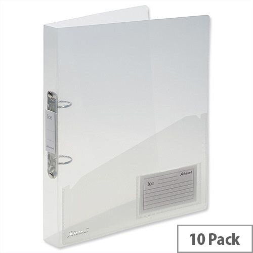 Rexel Ice A4 Clear Ring Binder Plastic Standard 25mm Pack 10