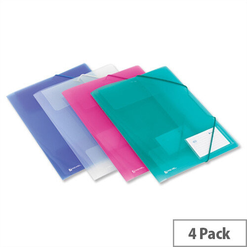 Rexel Ice Elasticated File 4 Fold A4 Assorted 2102050 Pack 4