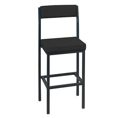 High Stool with Upholstered Backrest and Seat W410xD410xH700mm Charcoal 746264
