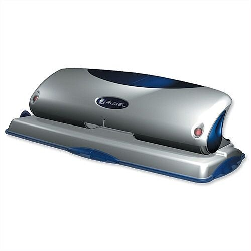 Rexel P425 4 Hole Punch Metal Blue and Silver with Nameplate 25 Sheets