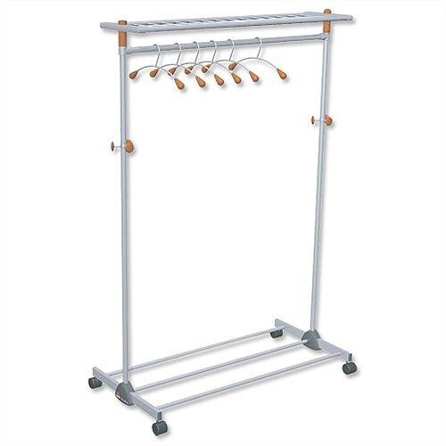 Coat and Garment Rack Mobile Wide Lockable Castors Capacity 40-50 Hangers