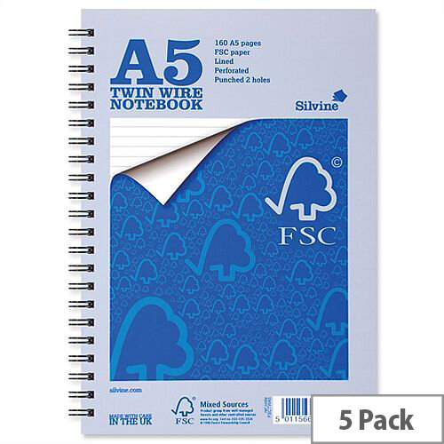 Silvine A5 Notebook Wirebound FSC Paper 104 Pages Pack 5