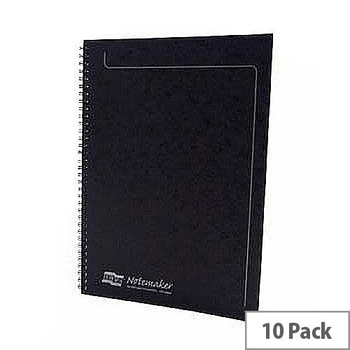 Europa A4 Notemaker Book Sidebound 120 Pages Black Pack 10