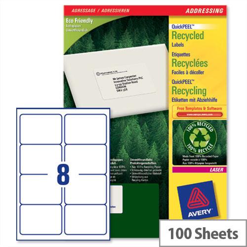 Avery LR7165-100 Labels Laser 8 per Sheet 99.1 x 67.7mm 800 Labels