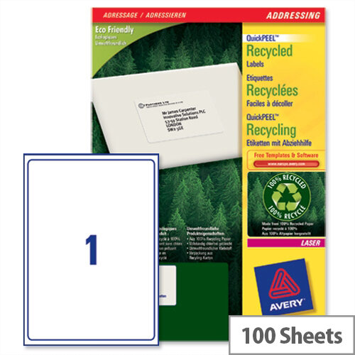 Avery LR7167-100 Laser Label 199.6 x 289.1mm (100 Labels)