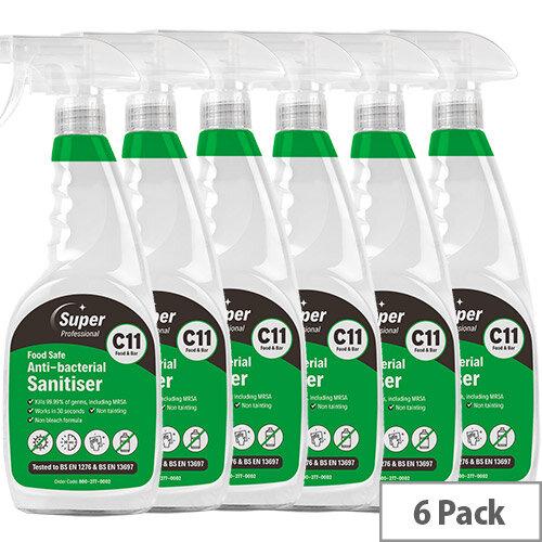C11 Food Safe Antibacterial Surface Sanitiser 750ml 6 Pack