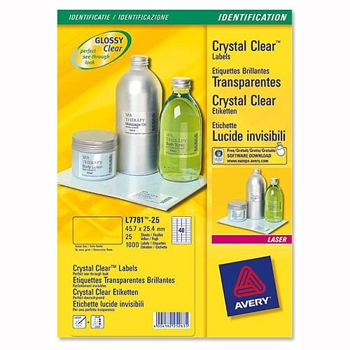 Avery 21 per Sheet Crystal Clear Labels (525 Labels)