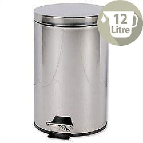 Stainless Steel Pedal Waste Bin 12 Litres Capacity Removable Plastic Liner D300 x H460mm