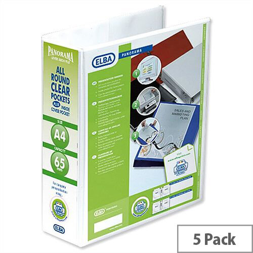 Elba Panorama Presentation 70mm White A4 Lever Arch File Pack of 5