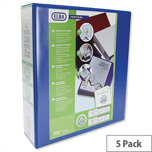 Elba Panorama Presentation 70mm Blue A4 Lever Arch File Pack of 5