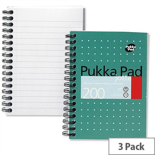 Pukka Pad A6 Jotta Notebook Wirebound Perforated Ruled 200pp JM036 Pack 3